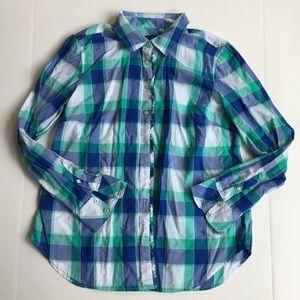 Talbots Women Size L Multicolour Plaid Shirt